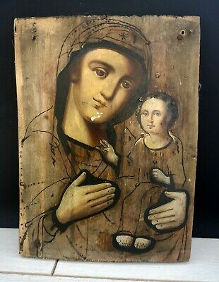 Very rare! Antique 19th Russian Hand Painted Wood Orthodox Icon, painted in oil