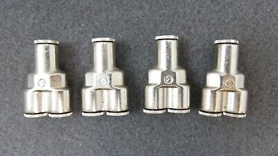 """Lot of 4 Camozzi P6560 04 Push-In Fitting 1/4"""" in to Double 1/4 Out Y Fume Metal"""