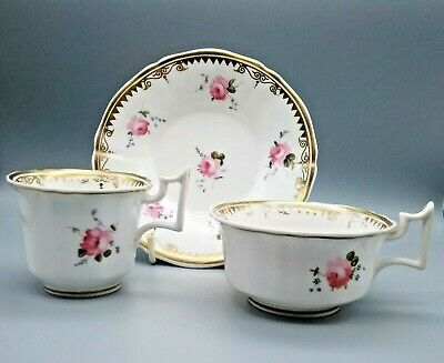 Antique English Porcelain Alcock Yates Staffordshire Trio Tea Coffee Cup Saucer