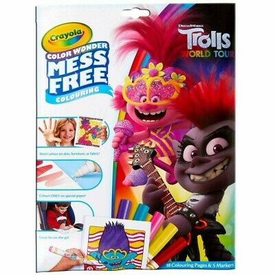 Crayola Trolls World Tour Color Wonder Mess Free Magic Colouring Book & Pens Set