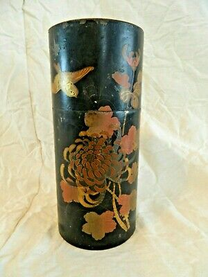 Antique Japanese metal tin hand painted box floral birds Asian art