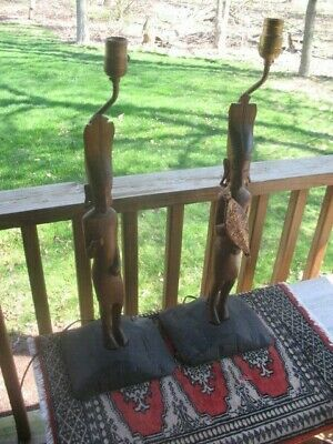 PAIR Mid Century Modern Carved Wood Figural Tiki Afrrican Warrior Lamps