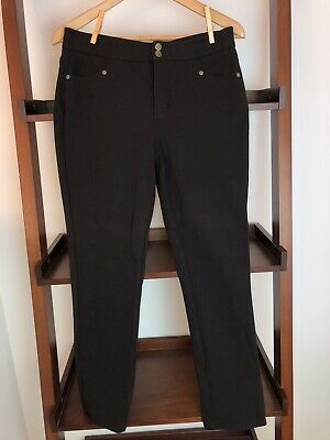 NYDJ Black Ponte Knit Skinny Pants Size 6P Excellent Used Condtion