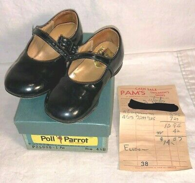 Vintage 1967 pair POLL PARROT black strap GIRLS shoes INFANT Baby 4 1/2 D