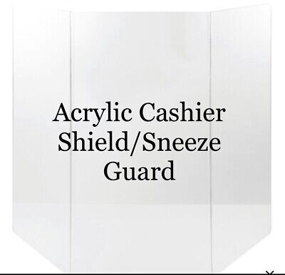Acrylic Cashier Shield/Sneeze Guard Over 3 Ft Wide FREE STANDING