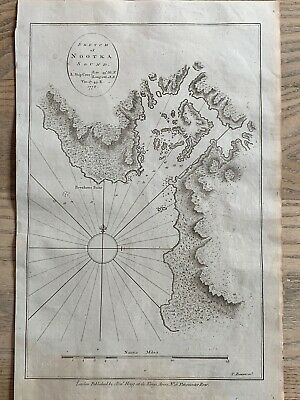 1784 Chart Of Nootka Sound Vancouver Island Cook's Voyages Map By Thomas Bowen