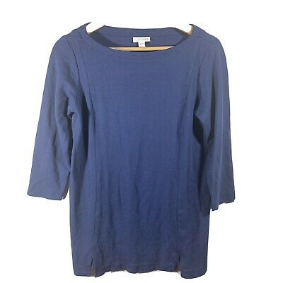 J. Jill Blue Ponte Stretch Knit Tunic Top Boat Neck 3/4 Sleeves Women's SP