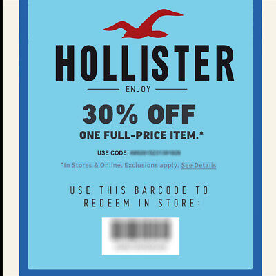 30% off 1 item HOLLISTER Co. Promo-Coupon Code Ex 6/5/20 OnIine/In Store