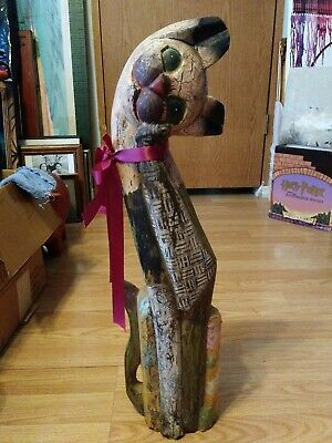 Antique Carved Wood Hand Painted Cat Statue 2' Tall~Spots Of Fabric Over Wood