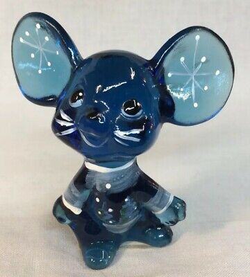 "Fenton Art Glass Hand Painted Indigo Blue Mouse ""Holiday Chums"" 2007"