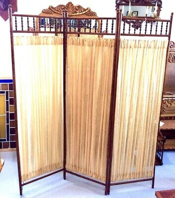 antique furniture late 1800s oak stick and ball dressing screen EXCELLENT COND.