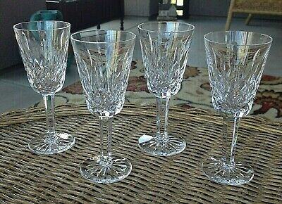 """4 Lot Waterford Crystal Lismore Sherry Cordial Glasses Set 5 1/8"""" Mint"""