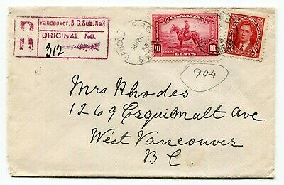 Canada BC Vancouver 1938 Sub Office # 3 - George VI / RCMP - Registered Cover