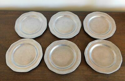 "6 Small Plates 5-1/2""  Scalloped Edge - Carson Pewter / Metal Freeport, PA"