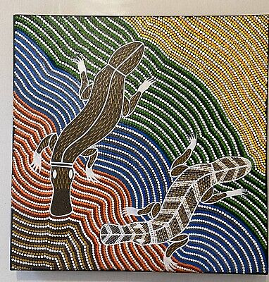 Aboriginal Art Dot Painting of Platypus and Goanna AKO