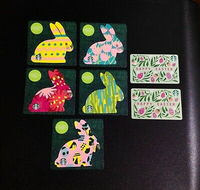 🇨🇦 Canada 2020 Starbucks Easter Gift Card -- Complete Set Of 7 Pcs. ---  New