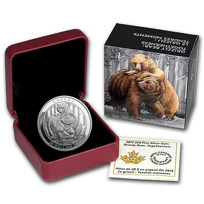 2015 CANADA 1 oz 9999 Silver $20 Grizzly Bear - Togetherness