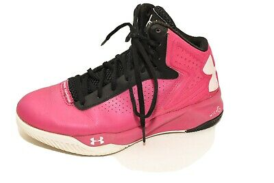 UNDER ARMOUR Kids Pink Black Bask Shoes Youth Girls size 6 Hightop Lace Up