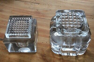 Vintage Heavy Glass Crystal Inkwells Art Deco Style With Glass Fitted Tops X 2