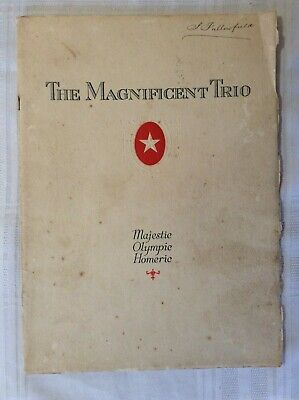 1920's WHITE STAR LINE Brochure of Interiors RMS OLYMPIC, MAJESTIC and HOMERIC.