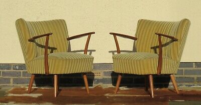 Pair Of Armchairs Mid Century Vintage Cocktail Armchairs / Chairs Jan20-5