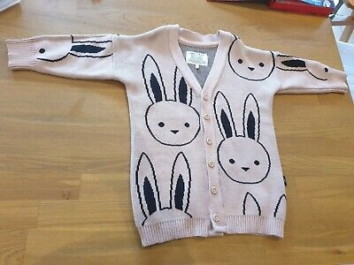 HuxBaby Rabbit Cardigan- Size 1 12-18mths- Bunny Pink Toddler Hux Baby
