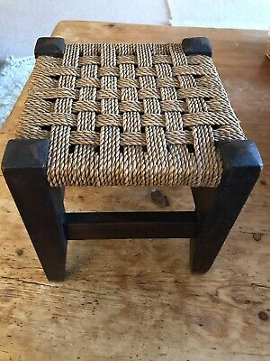 Vintage Small / Child Seagrass String Wooden Foot Stool Collection GL7 Or Post