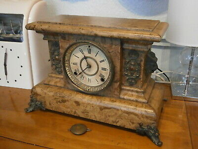 Mantle Clock Ansonia Wood Marble style American movement spares parts bracket