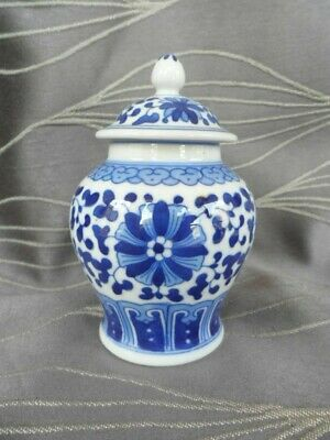 Small Blue and White Ginger Jar with Lid