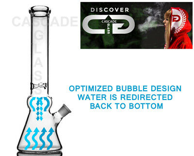 """14"""" BUBBLE BEAKER™ Straight Tube 9mm Glass Water Pipe Waterpipe -its not a bong"""