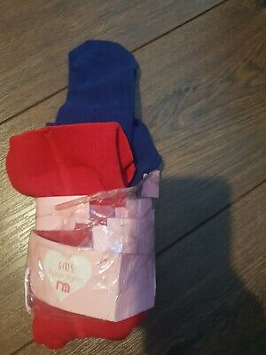 2x Pair Of Tights Age 1-2 Red And Navy Blue Mothercare