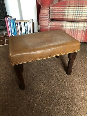 Antique Leather Footstool Stool Step Seat Dark Wooden Chair WORN OLD