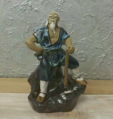 Antique Shiwan Mudman Chinese Porcelain Pottery Man Figurine Statue Hand Painted