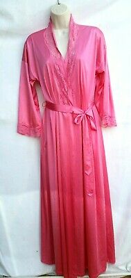 Vanity Fair Womens Size Small Nylon Robe and Gown Long Pink Salmon