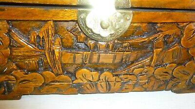 Beautiful Vintage Hand Carved Large Detailed Wooden Box w/ Brass Latch Rare