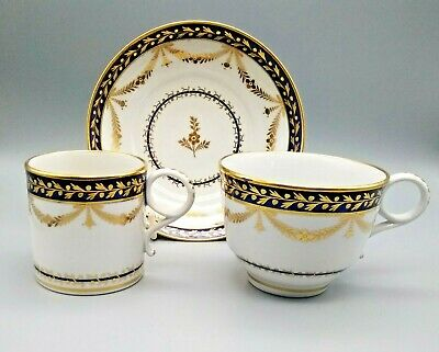 Antique English Porcelain Flight & Barr Worcester Trio Coffee Can Tea Cup Saucer