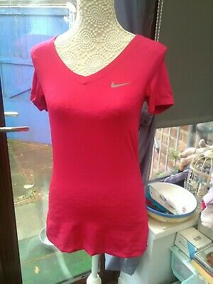 Nike Pro Shocking Pink Short Sleeve Sports Top V Neck Polyester Size Medium