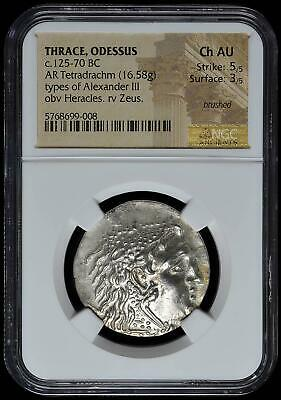Thrace Odessus AR Tetradrachm 125-70 BC NGC Ch AU 5/4 Alexander III Bright Coin!