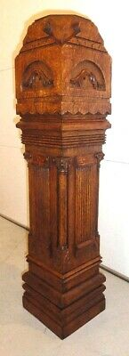 ANTIQUE late 1800s oak newel post. Top comes off for mounting newel light.