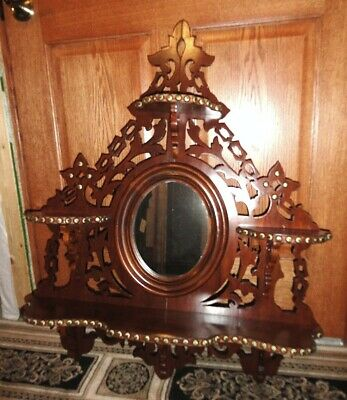 ANTIQUE Victorian walnut wall mirror very handsome piece in EXCELLENT COND.