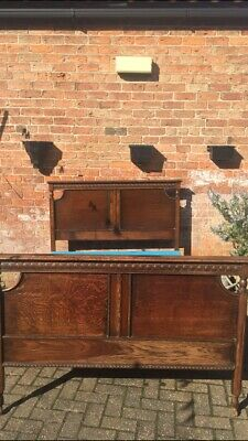 Antique 1920's Solid Oak Full Bedroom Suite Wardrobe Dressing Table Drawers Bed