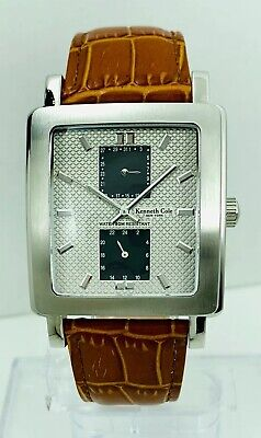 Kennth Cole Men's KC1235  Multi-function Square shape Brown Strap Watch
