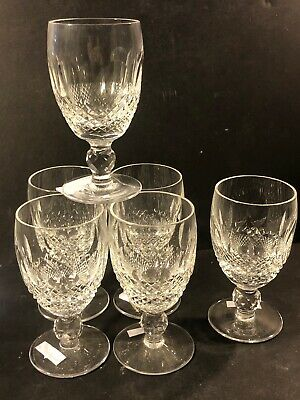 """6 Waterford Crystal 4-1/4"""" Short Stem Short Sherry Glasses Colleen Pattern"""