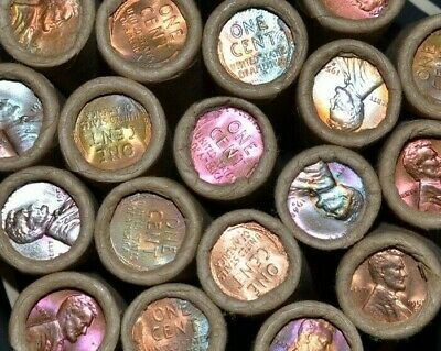Full Toned Bu Wheat Cent Roll 1909-1958 // 50 Coins Vintage