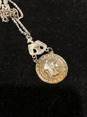 Antique Vintage 1930s Egyptian Revival Pendant Necklace Figural Bird Collectable