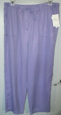 JM COLLECTION Long Pants Size 18W Lavender Orchid Elastic Drawstring Wasit New