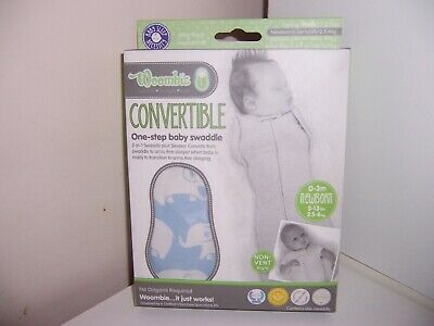 Woombie baby swaddle Newborn 0-3  months New Blue elephants