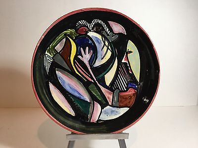 Vtg Luciano Rumi Abstract Ceramic Plate Milano, Italy MCM, pottery 50's