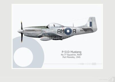 Warhead Illustrated P-51D Mustang  77 Sqn RAAF AM-A Aircraft Print