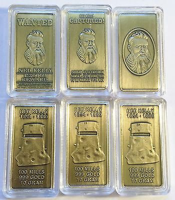 """""""NED KELLY"""" Set Of 3 x 10grm Ingots HGE 999 Gold Antique Look Limited To 2,500"""